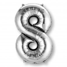 Number 8 Party Decorations - Shaped Balloon SuperShape Silver 86cm