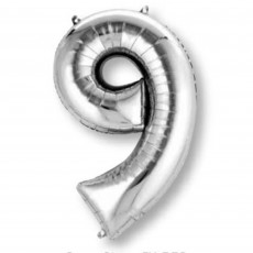 Number 9 Party Decorations - Shaped Balloon SuperShape Silver 86cm
