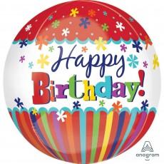 Happy Birthday Striped & Bursts Shaped Balloon