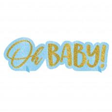 Oh Baby Boy Glittered Oh Baby! Centrepiece 11cm x 35cm