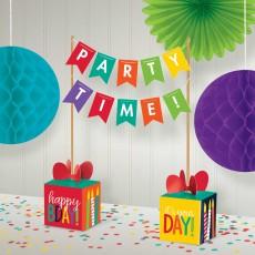Happy Birthday Party Decorations - Centrepiece Banner Kit Rainbow