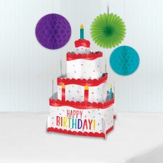 Happy Birthday Party Decorations - Centrepiece Pop Up Cake Rainbow