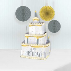 Happy Birthday Party Decorations - Centrepiece Pop Up Cake Silver Gold