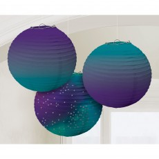 Sparkling Sapphire Ombre Paper Lanterns