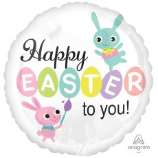 Easter Standard HX Paint Brush Bunnies Foil Balloon