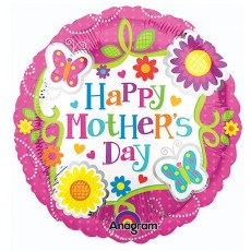 Mother's Day Butterflies & Flowers Foil Balloon