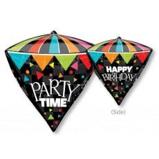 Diamondz UltraShape Happy Birthday Party Time Shaped Balloon 38cm x 43cm
