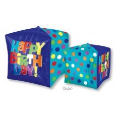 Cubez UltraShape Bright Happy Birthday! Shaped Balloon 38cm x 38cm