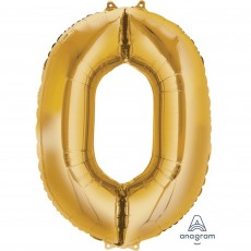 Number 0 Gold SuperShape Shaped Balloon