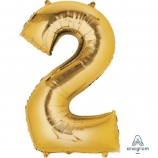Number 2 Party Decorations - Shaped Balloon SuperShape Gold 86cm