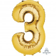 Number 3 Party Decorations - Shaped Balloon SuperShape Gold 86cm