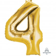 Number 4 Party Decorations - Shaped Balloon SuperShape Gold 86cm
