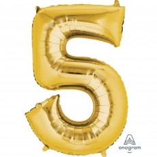 Number 5 Gold Helium Saver Foil Balloon
