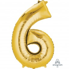 Number 6 Gold Helium Saver Foil Balloon