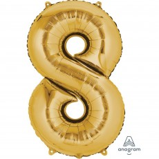 Number 8 Party Decorations - Shaped Balloon SuperShape Gold 86cm