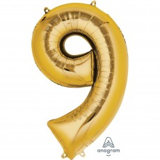 Number 9 Party Decorations - Shaped Balloon SuperShape Gold 86cm