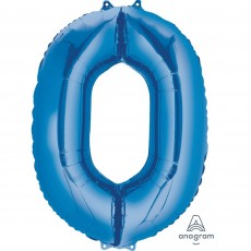 Number 0 Blue SuperShape Shaped Balloon