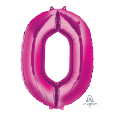 Number 0 Party Decorations - Shaped Balloon SuperShape Pink 86cm