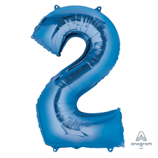 Number 2 Party Decorations - Shaped Balloon SuperShape Blue 86cm