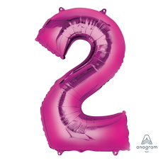 Number 2 Party Decorations - Shaped Balloon SuperShape Pink 86cm