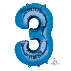 Number 3 Party Decorations - Shaped Balloon SuperShape Blue 86cm