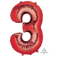 Number 3 Party Decorations - Shaped Balloon SuperShape Red 86cm