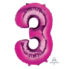 Number 3 Party Decorations - Shaped Balloon SuperShape Pink 86cm
