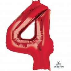 Number 4 Party Decorations - Shaped Balloon SuperShape Red 86cm