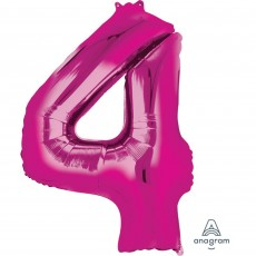 Number 4 Party Decorations - Shaped Balloon SuperShape Pink 86cm