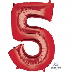 Number 5 Party Decorations - Shaped Balloon SuperShape Red 86cm
