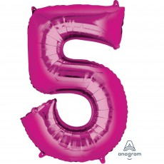 Number 5 Party Decorations - Shaped Balloon SuperShape Pink 86cm