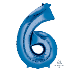 Number 6 Party Decorations - Shaped Balloon SuperShape Blue 86cm