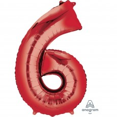 Number 6 Party Decorations - Shaped Balloon SuperShape Red 86cm