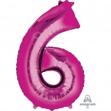 Number 6 Party Decorations - Shaped Balloon SuperShape Pink 86cm