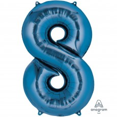 Number 8 Party Decorations - Shaped Balloon SuperShape Blue 86cm
