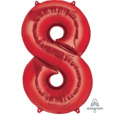 Number 8 Party Decorations - Shaped Balloon SuperShape Red 86cm