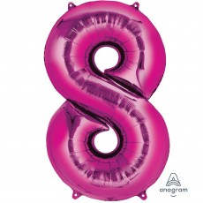 Number 8 Party Decorations - Shaped Balloon SuperShape Pink 86cm