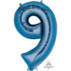 Number 9 Party Decorations - Shaped Balloon SuperShape Blue 86cm