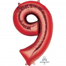 Number 9 Party Decorations - Shaped Balloon SuperShape Red 86cm