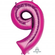 Number 9 Party Decorations - Shaped Balloon SuperShape Pink 86cm