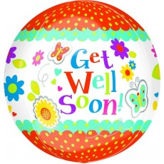 Get Well Floral Butterly Shaped Balloon