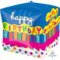 Cubez UltraShape Cake Happy Birthday! Shaped Balloon 38cm x 38cm