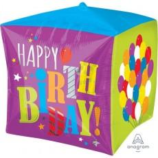 Cubez UltraShape Balloons Happy Birthday! Shaped Balloon 38cm x 38cm