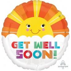 Get Well Standard HX Smiley Sunshine Foil Balloon