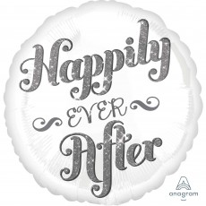 Round Wedding Standard HX Shimmer Happily Ever After Foil Balloon 45cm