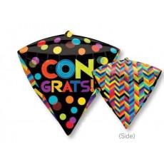 Diamondz UltraShape Bright Dots & Stripes Congrats! Shaped Balloon 38cm x 43cm