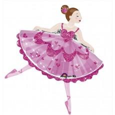 Pink SuperShape XL  Sparkle Ballerina Shaped Balloon