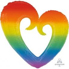 Rainbow SuperShape XL Open Heart Shaped Balloon
