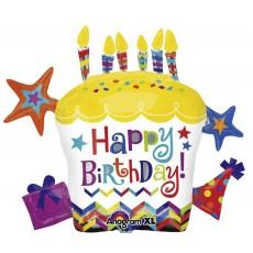 Happy Birthday Cupcake Star SuperShape XL Shaped Balloon