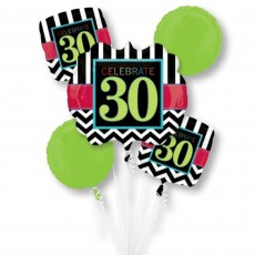 30th Birthday Chevron Celebration Bouquet Foil Balloons Pack of 5